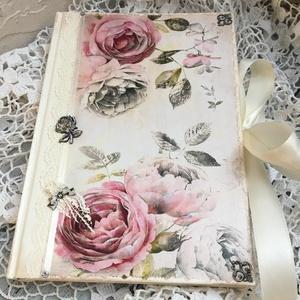 Rózsás napló a legféltettebb titkaidnak, Bútor, Otthon & lakás, Férfiaknak, Konyhafelszerelés, Könyvkötés, Decoupage, transzfer és szalvétatechnika, Ez a napló nagyszerű választás bármilyen alkalomra ajándékként , de persze saját részre is :)\nTeljes..., Meska
