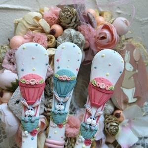 Nyuszis evőeszköz szett, Otthon & Lakás, Kanál & Villa, Konyhafelszerelés, Szívvel-lélekkel dekorált kiskanál kicsiknek és nagyoknak!   Munkáim során legfontosabb számomra a p..., Meska