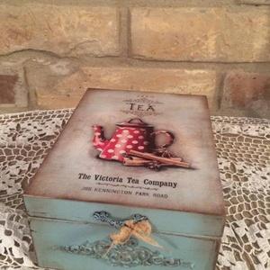 Vintage teásdoboz , Otthon & Lakás, Konyhafelszerelés, Tea & Kávé tárolás, Decoupage, transzfer és szalvétatechnika, Meska