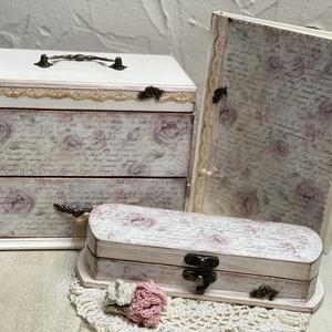 Vintage szett, Otthon & Lakás,    3 db-os csodás vintage szett, amely 1 db ékszertartóból, 1 db tolltartóból és 1 db naplóból áll! ..., Meska