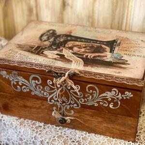 Vintage varrós doboz , Otthon & Lakás, Tárolás & Rendszerezés, Doboz, Ugye Te is ismered azt mikor nagyon keresnél egy gombot cérnát stb. És egy rendezetlen dobozkára tal..., Meska