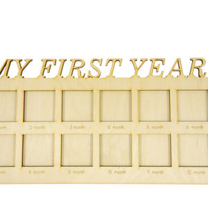 My First Year, képkeret babaköszöntésre, első évem képkeret, Gyerek & játék, Gyerekszoba, Baba falikép, Dekoráció, Otthon & lakás, Famegmunkálás, Egyedi tervezésű képkeret, 12 db fénykép részére, melynek segítségével nyomon tudod követni kisbabád..., Meska