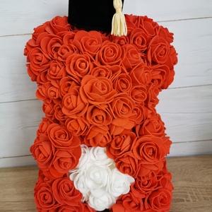 Ballagási virágmaci, Otthon & lakás, Dekoráció, Ünnepi dekoráció, Ballagás, Mindenmás, 25 cm magasságú habrózsából készült ballagási maci eladó, Meska