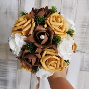 Menyasszonyi örök csokor esküvőre habrózsából, Esküvő, Menyasszonyi- és dobócsokor, Őszi színekben pompázó esküvői csokor, Meska