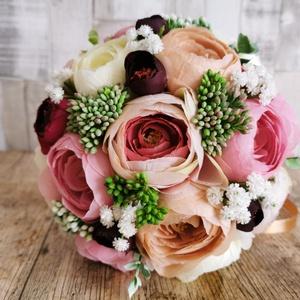 Menyasszonyi csokor, Esküvő, Menyasszonyi- és dobócsokor, Menyasszonyi- és dobócsokor, Mindenmás, Virágkötés, Menyasszonyi csokor selyemvirágokból, Meska