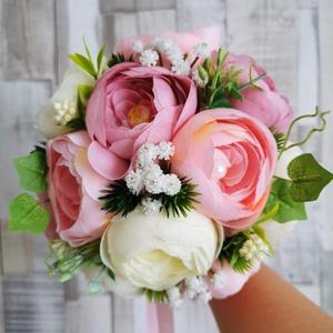 Menyasszonyi csokor , Esküvő, Menyasszonyi- és dobócsokor, Mindenmás, Virágkötés, Selyemvirágból készült esküvői örök csokor, Meska