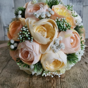 Menyasszonyi csokor, Esküvő, Menyasszonyi- és dobócsokor, Mindenmás, Virágkötés, Selyemvirágból készült örök csokor, Meska