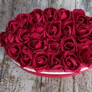 Ovális box vörös, Otthon & Lakás, Dekoráció, Csokor & Virágdísz, Méret: 20*12 cm, Meska