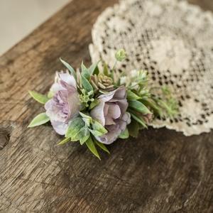 Menyasszonyi hajdísz, Esküvő, Hajdísz, ruhadísz, Mindenmás, Virágkötés, Minőségi selyemvirágokból készült hajdísz, hajfésű, halvány lila angolrózsából. Nem hervad, örök eml..., Meska