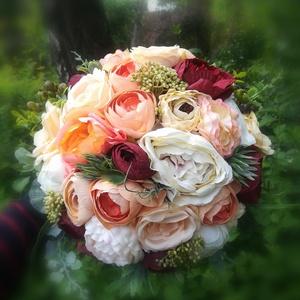 """Menyasszonyi csokor, örökcsokor, Esküvő, Esküvői csokor, Mindenmás, Virágkötés, Minőségi selyem virágokból készült \""""örök\"""" csokor, menyasszonyi csokor. Krém-bordó-narancs színekben ..., Meska"""