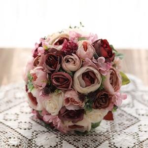Menyasszonyi csokor, örök csokor, örökcsokor, Esküvő, Menyasszonyi- és dobócsokor, Menyasszonyi- és dobócsokor, Mindenmás, Virágkötés, Minőségi selyem virágokból készült örök csokor . Bordós- mályva, beige rózsaszínű  színekben . Kreat..., Meska