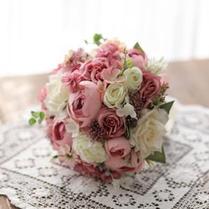 Menyasszonyi csokor, örök csokor, örökcsokor, Esküvő, Menyasszonyi- és dobócsokor, Menyasszonyi- és dobócsokor, Mindenmás, Virágkötés, Minőségi selyem virágokból készült örök csokor. Rózsaszínű-krém szín összeállításban. Dobó csokornak..., Meska
