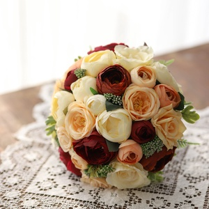 Menyasszonyi csokor, örök csokor, örökcsokor, Esküvő, Menyasszonyi- és dobócsokor, Menyasszonyi- és dobócsokor, Mindenmás, Virágkötés, Minőségi selyem virágokból készült menyasszonyi csokor. Krém-bordó-barack színű boglárkák, rózsák dí..., Meska