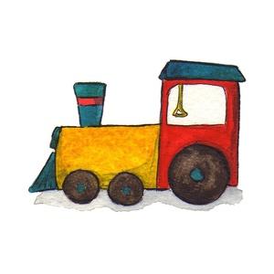 Vonat - aláírt, dátumozott nyomat, Művészet, Grafika & Illusztráció, Fotó, grafika, rajz, illusztráció, Ha a járművek hirtelen emberekké változnának, a mozdony bizonyára egy bölcs öregember lenne...\n\nAz u..., Meska