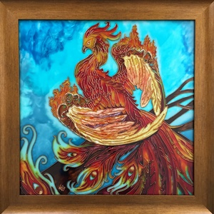 Tűzmadár, Festmény vegyes technika, Festmény, Művészet, Festészet, Üvegművészet, Az üvegfestmény keretezve 50 cm x 50 cm. Mindenki által kedvenc szimbólumot festettem meg üvegfesték..., Meska