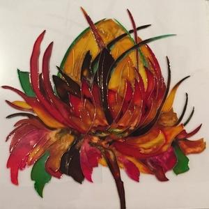 Vadvirág, Otthon & lakás, Dekoráció, Kép, Lakberendezés, Falikép, Képzőművészet, Festmény, Festészet, Üvegre festett mezei-vad virágom  csodás színekben pompázik.\nAz élet, az erő. a szépség jelképe.\nKer..., Meska