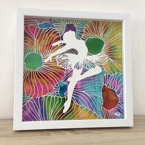 Virágmező balerinája, Otthon & lakás, Dekoráció, Kép, Képzőművészet, Festmény, Lakberendezés, Falikép, Festészet, Dupla üvegre festett alkotás, kihasználva az üveg két oldalát is.\nA fehér balerina kiemelkedik a vir..., Meska