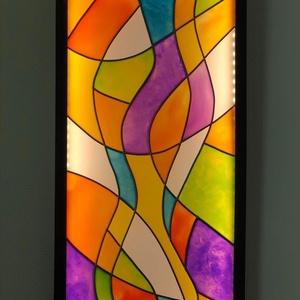 Fali lámpa, Otthon & Lakás, Lámpa, Fali & Mennyezeti lámpa, Festészet, Egyedi tervezésű, üvegfestékkel elkészített, keretezett lámpa.\nA fali lámpa mérete 30 cm x 70 cm. \nK..., Meska