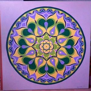 Kiteljesedés Mandala, Mandala, Dekoráció, Otthon & Lakás, Festészet, Nappali dísze lehet ez a nagyméretű ( 76 x 76 cm) akril festékkel fára festett és lakkozott mandala...., Meska
