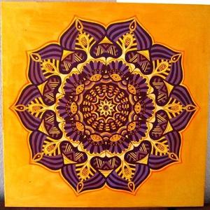 Lilavirág Mandala, Mandala, Dekoráció, Otthon & Lakás, Festészet, Nappali dísze lehet ez a nagyméretű ( 76 x 76 cm) akril festékkel fára festett és lakkozott mandala...., Meska
