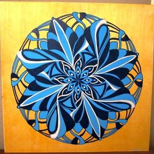 Kékvirág Mandala, Mandala, Dekoráció, Otthon & Lakás, Festészet, Nappali dísze lehet ez a nagyméretű ( 76 x 76 cm) akril festékkel fára festett és lakkozott mandala...., Meska