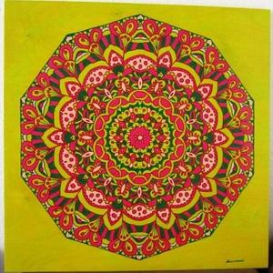 Vidám Mandala, Mandala, Dekoráció, Otthon & Lakás, Festészet, Nappali dísze lehet ez a nagyméretű ( 76 x 76 cm) akril festékkel fára festett és lakkozott mandala...., Meska