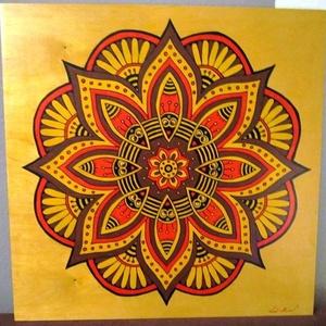 Virágbeporzás Mandala, Mandala, Dekoráció, Otthon & Lakás, Festészet, Nappali dísze lehet ez a nagyméretű ( 76 x 76 cm) akril festékkel fára festett és lakkozott mandala...., Meska