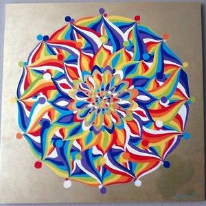 Szivárványok Mandala, Mandala, Dekoráció, Otthon & Lakás, Festészet, Nappali dísze lehet ez a nagyméretű ( 76 x 76 cm) akril festékkel fára festett és lakkozott mandala...., Meska