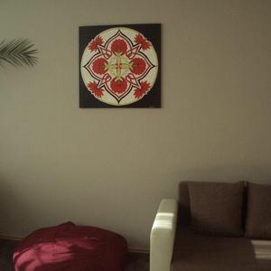 Szerelem Mandala, Mandala, Dekoráció, Otthon & Lakás, Festészet, Nappali dísze lehet ez a nagyméretű ( 76 x 76 cm) akril festékkel fára festett és lakkozott mandala...., Meska