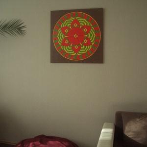 Biztonság Mandala, Mandala, Dekoráció, Otthon & Lakás, Festészet, Nappali dísze lehet ez a nagyméretű ( 76 x 76 cm) akril festékkel fára festett és lakkozott mandala...., Meska
