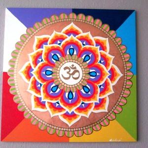 Aum Mandala, Otthon & lakás, Lakberendezés, Falikép, Bútor, Képzőművészet, Festészet, Nappali dísze lehet ez a nagyméretű ( 76 x 76 cm) akril festékkel fára festett és lakkozott mandala...., Meska