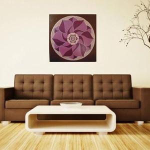Lilabarna Mandala, Mandala, Dekoráció, Otthon & Lakás, Festészet, Nappali dísze lehet ez a nagyméretű ( 76 x 76 cm) akril festékkel fára festett és lakkozott mandala...., Meska