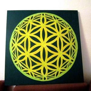 Foszforeszkáló 3D Életvirága Mandala, Mandala, Dekoráció, Otthon & Lakás, Festészet, Nappali dísze lehet ez a nagyméretű ( 76 x 76 cm) akril festékkel fára festett és lakkozott mandala...., Meska