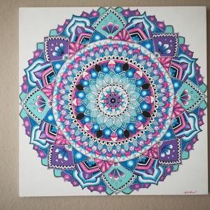 Tiszta Szó Mandala, Mandala, Dekoráció, Otthon & Lakás, Festészet, Nappali dísze lehet ez a nagyméretű ( 76 x 76 cm) akril festékkel fára festett és lakkozott mandala...., Meska