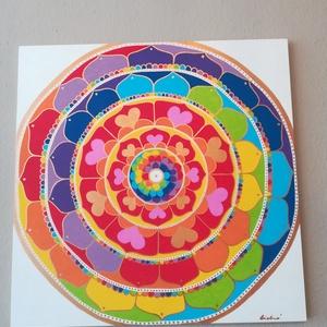 Boldogság Mandala , Mandala, Dekoráció, Otthon & Lakás, Festészet, Nappali dísze lehet ez a nagyméretű ( 76 x 76 cm) akril festékkel fára festett és lakkozott mandala...., Meska