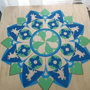 Tánc Mandala, Képzőművészet, Otthon & lakás, Festmény, Lakberendezés, Falikép, Esküvő, Festészet, Nappali dísze lehet ez a nagyméretű ( 76 x 76 cm) akril festékkel fára festett és lakkozott mandala...., Meska