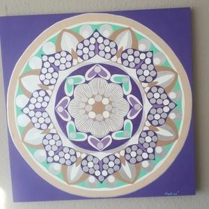 Ezüst Bőség Mandala, Mandala, Dekoráció, Otthon & Lakás, Festészet, Nappali dísze lehet ez a nagyméretű ( 76 x 76 cm) akril festékkel fára festett és lakkozott mandala...., Meska