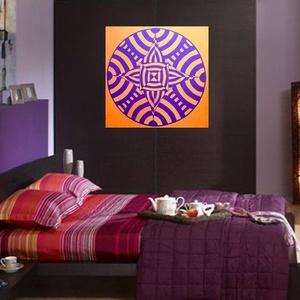 Retro Mandala, Mandala, Dekoráció, Otthon & Lakás, Festészet, Nappali dísze lehet ez a nagyméretű ( 76 x 76 cm) akril festékkel fára festett és lakkozott mandala...., Meska