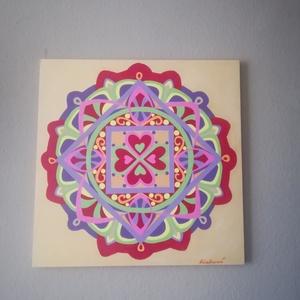 Foszforeszkáló Szerelem Mandala, Mandala, Dekoráció, Otthon & Lakás, Festészet, Nappali dísze lehet ez a nagyméretű ( 76 x 76 cm) akril festékkel fára festett és lakkozott mandala...., Meska