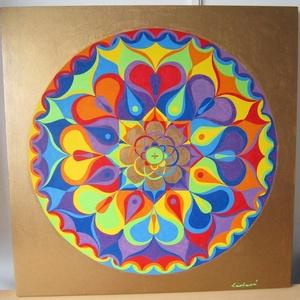 Szivárvány Szeretet Mandala, Falra akasztható dekor, Dekoráció, Otthon & Lakás, Festészet, Nappali dísze lehet ez a nagyméretű ( 76 x 76 cm) akril festékkel fára festett és lakkozott mandala...., Meska