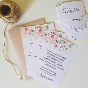 Elegáns, Romantikus Esküvői Meghívó, Esküvő, Szerelmeseknek, Esküvői dekoráció, Meghívó, ültetőkártya, köszönőajándék, Fotó, grafika, rajz, illusztráció, Csomagár/db tartalmaz: 1. Meghívó lap, egyoldalas nyomtatással: 10,5cm x 14,8cm, lekerekített sarko..., Meska