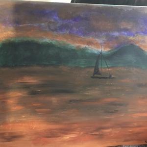 Naplemente a tó felett, Művészet, Festmény, Akril, Festett tárgyak, 50x70 saját készítésű akril festmény. Feszített vászonra készült. , Meska