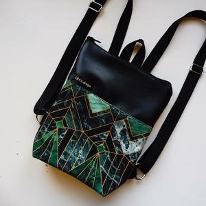 Art deco mintás hátizsák, Táska & Tok, Hátizsák, Hátizsák, Varrás, Art deco mintás vászon anyaggal és fekete műbőrrel kisebb/mini hátizsák. A bélése fekete vászon, bel..., Meska