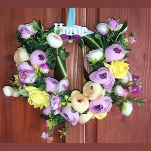 Home kopogtató, ajtódísz, Otthon & lakás, Lakberendezés, Ajtódísz, kopogtató, Dekoráció, Mindenmás, Virágkötés, Tavaszi Home feliratú, 25 cm-es alapra készült kb. 30 cm széles kopogtató, ajtódísz. \nFeldobja a szü..., Meska