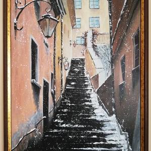 Varsó havas utcái , Művészet, Festmény, Akril, Festett tárgyak, Festészet, Hangulatos varsói utcakép. Télies kissé szűk utca kopottas hatású házakkal, emelkedő havas lépcsősor..., Meska