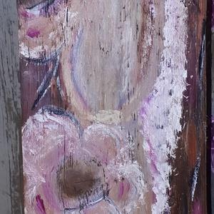 Babaváró Angyal, Otthon & lakás, Képzőművészet, Festmény, Olajfestmény, Festészet, Fás festett babaváró angyal. A kép olajfestékkel készült majd lakkozva lett. Akasztóval is rendelhet..., Meska