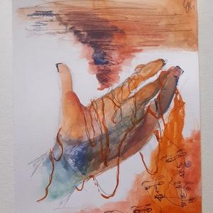A Bal, Művészet, Festmény, Festmény vegyes technika, Festészet, Vízfesték festményem akvarell papíron, not printed! A festményen golyóstoll rajz van, 180x240 mm, fa..., Meska