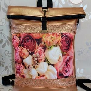 Rózsás rosegold hátizsák, Táska & Tok, Hátizsák, Roll top hátizsák, Varrás, Rosegold színű hátizsák, álomszép rózsás panellal bronzos csillogással.\nZipzárral és karabínerrel zá..., Meska