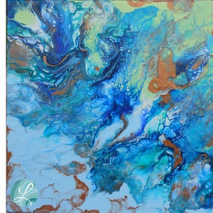 Aranypart - Fluid Akril Festmény, Akril, Festmény, Művészet, Festészet, Festett tárgyak, Festékfolyatásos technikával készült festmény, egyedi színkombinációval és technikával. A különleges..., Meska