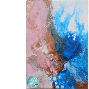 A Tavasz és a Tél Dala – Fluid Akril Festmény, Akril, Festmény, Művészet, Festett tárgyak, Festészet, Festékfolyatásos technikával készült festmény, egyedi színkombinációval és technikával. A különleges..., Meska